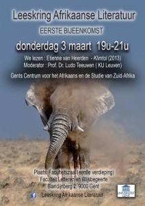 Flyer Leeskring Afrikaanse Literatuur